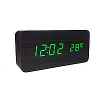 Электронные  часы  VST 862 прямоугольные под дерево Черные, зеленая подсветка