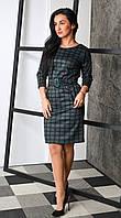 """Элегантное платье в клеточку, зеленое """"297"""" Размеры 44,52."""