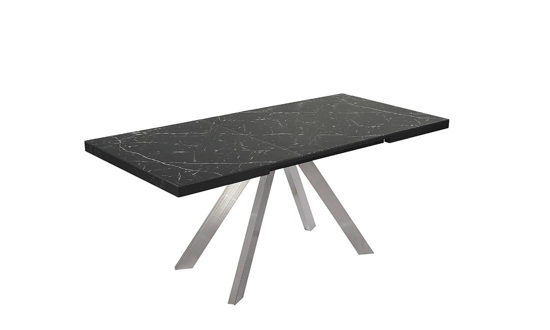 Раздвижной стол Кемел 140/180, черный матовый под мрамор