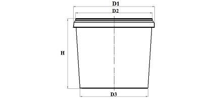 Діаметр D1129 мм Діаметр D2122 мм Діаметр D3115 мм Висота H25 мм Колір відраПрозоре Колір кришкиПрозорий Кількість в упаковці: Відро400 штКришка400 шт