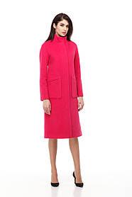 Стильное длинное женское пальто класса люкс серое шерсть 100% размер 42-50