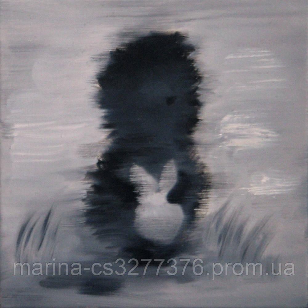 МИНИ картина Ежик в тумане 20х20 см холст масло современная интерьерная живопись