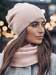Теплый розовый комплект: шапка и хомут