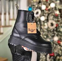 Dr. Martens Jadon Fur Winter Mono Black | берцы/ботинки мартинсы женские; черные; зимние с мехом; на платформе