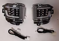 Диодные задние противотуманные Led птф фонари Toyota Land Cruiser LC 200 (15+) черные