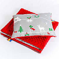 Комплект детский BabySoon Рождественская сказка одеяло 75 х 85 см подушка 30 х 40 см Серый (0293)