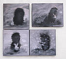МИНИ картина Ежик в тумане и снежинки 20х20 см холст масло галерейная натяжка интерьерная живопись, фото 2