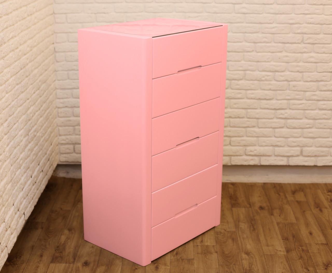 """Высокий комод из дерева """"Орео"""" цвет: Розовый антик"""
