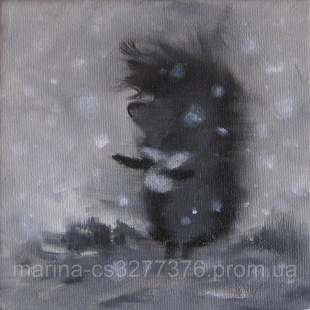 МИНИ картина Ежик в тумане и снежинки 20х20 см холст масло галерейная натяжка интерьерная живопись