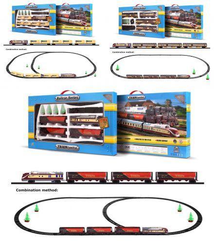 """Железная дорога """"Train Familial""""  (поезд - локомотив, три вагона, прочие эл / звуковые и световые эффекты) sct"""