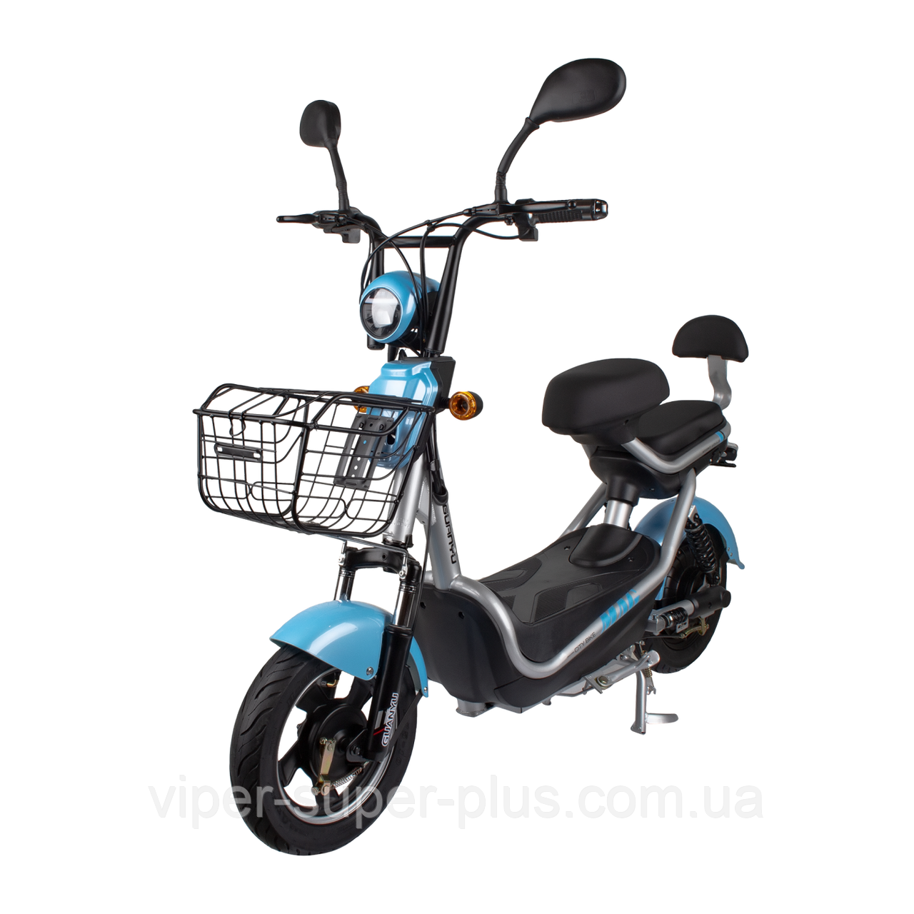 Электрический скутер CITY 350W/48V Серо-голубой
