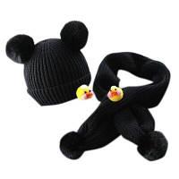 Шапка шарф детский комплект осень-зима черный с утками