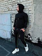 Стильный мужской спортивный костюм с капюшоном,черного цвета
