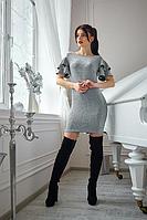 Элегантное красивое блестящее женское платье мини 42-48 44-46, серый