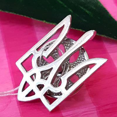 Срібний значок на піджак Тризуб - Тризуб срібна шпилька на піджак