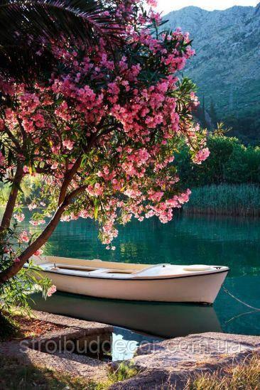 Фотообои лодка, берег, цветы текстуры , индивидуальный размер