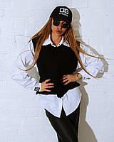 Комплект рубашка женская с жилеткой