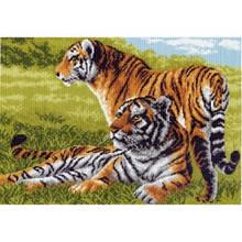 Канва схема для вышивания животные Бенгальские тигры