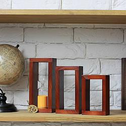 Набір декору Часи пісочні, декоративні  дерев'яні рамки вишня