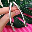 Серебряные серьги без камней - Длинные стильные серьги из серебра, фото 5