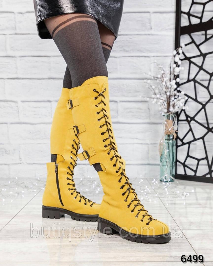 Зимние женские желтые сапоги натуральная замша на шнуровке и ремешках Еврозима