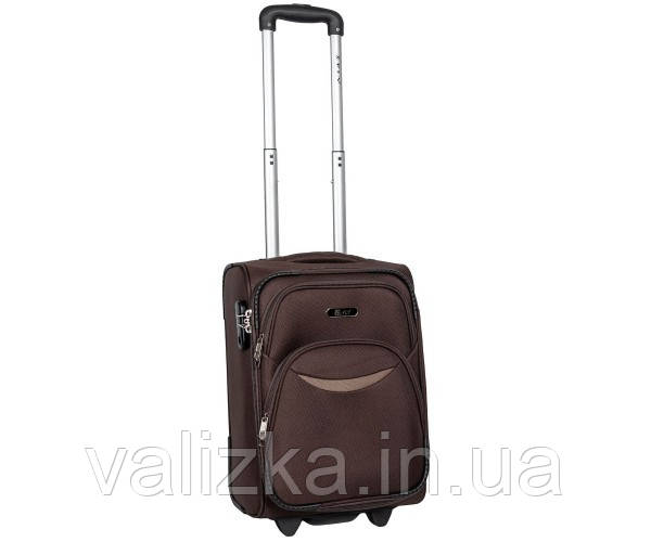Малый тканевый чемодан для ручной клади на 2-х колесах 1708  S+коричневый
