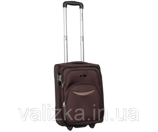 Малый тканевый чемодан для ручной клади на 2-х колесах 1708  S+коричневый, фото 2