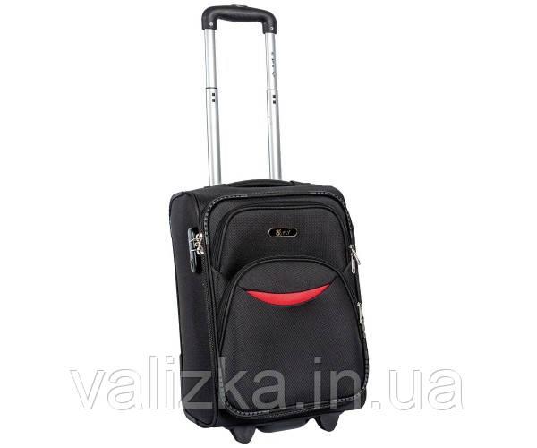 Малый тканевый чемодан для ручной клади на 2-х колесах 1708  S+черный