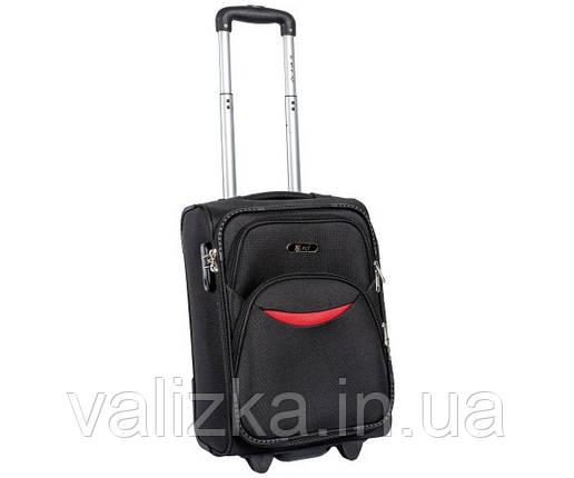 Малый тканевый чемодан для ручной клади на 2-х колесах 1708  S+черный, фото 2