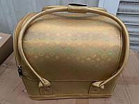 Бьюти кейс для косметики, золотой с рисунком, фото 1