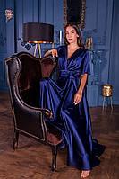 Длинное вечернее шелковое синее платье с коротким рукавом (S, M, L, XL)