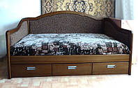 """Кровать в Полтаве деревянная диван-кровать полуторная с ящиками """"Лорд"""" dn-kr5.1"""