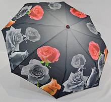 Женский зонт на 8 спиц  полуавтомат  Букеты роз