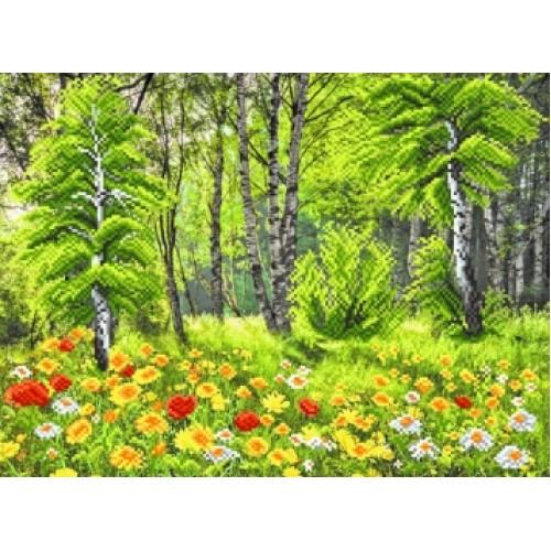 Канва вышивка бисером пейзаж Березовая роща