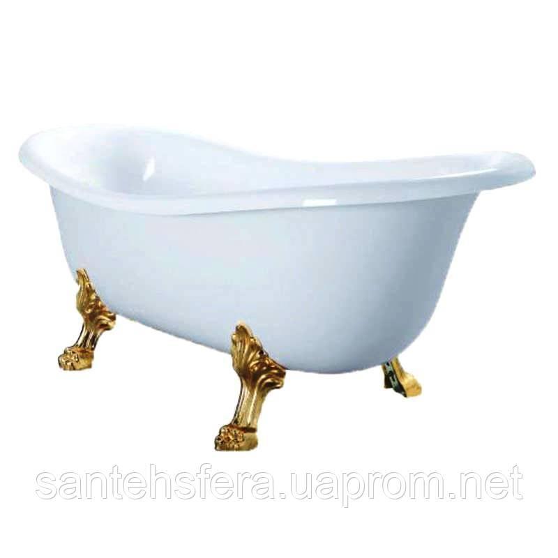 Акриловая отдельностоящая ванна Atlantis C-3014 белая (ноги золото)
