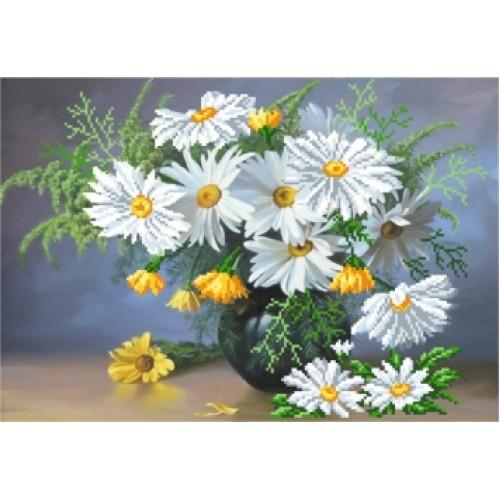 Вишивка квіти бісером,Канва схеми натюрморт Букет ромашок