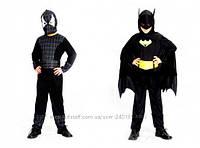 Детский карнавальный костюм для мальчиков Спайдермен-Бэтмен Бетмен 2 сторонний костюм р.110-140, черный