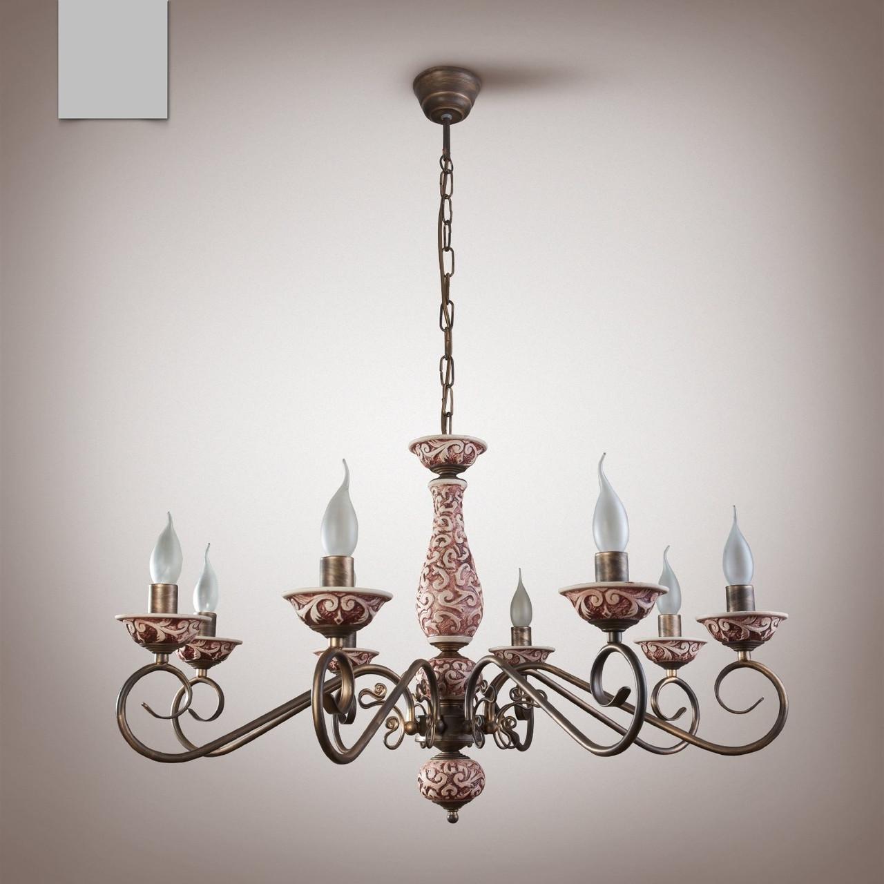 Люстра классическая со свечами в большую комнату  10907