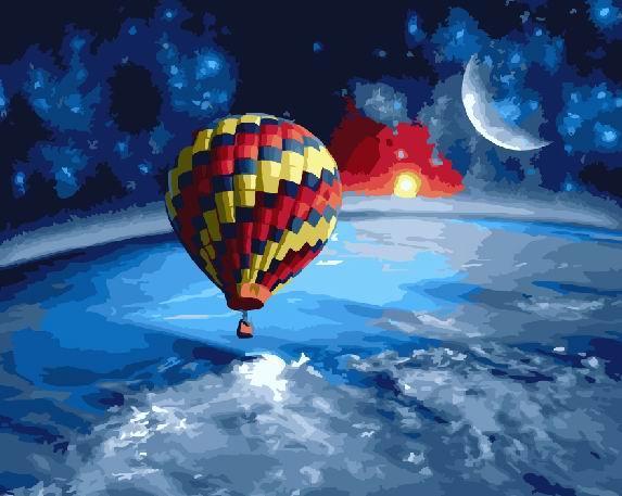 Картина по номерам BRUSHME Вокруг земли на воздушном шаре