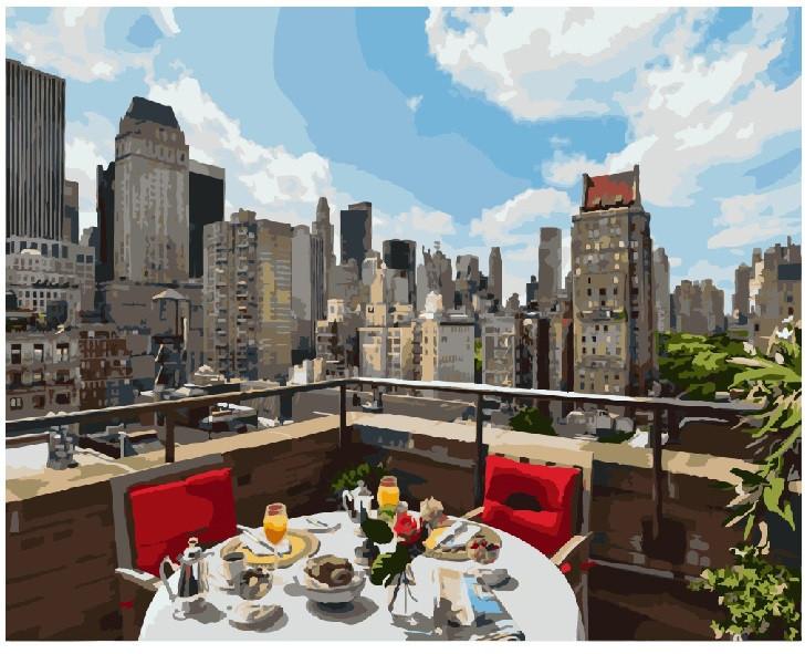 Картина по номерам BRUSHME Завтрак в большом городе