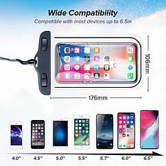 Водонепроницаемый чехол,сумка для смартфона/телефона от 4 до 6,5 дюймов (смотрите фото с размерами)