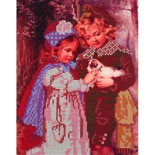 Вышивка схема бисером Детская, Канва Дети Дети и щенок