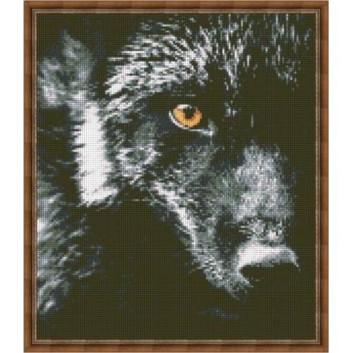 Вышивка схемы бисером, Канва Волк Животные Волк на черном