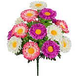 Букет  хризантемы трехцветные, 49см( по 10 шт в уп.), фото 2