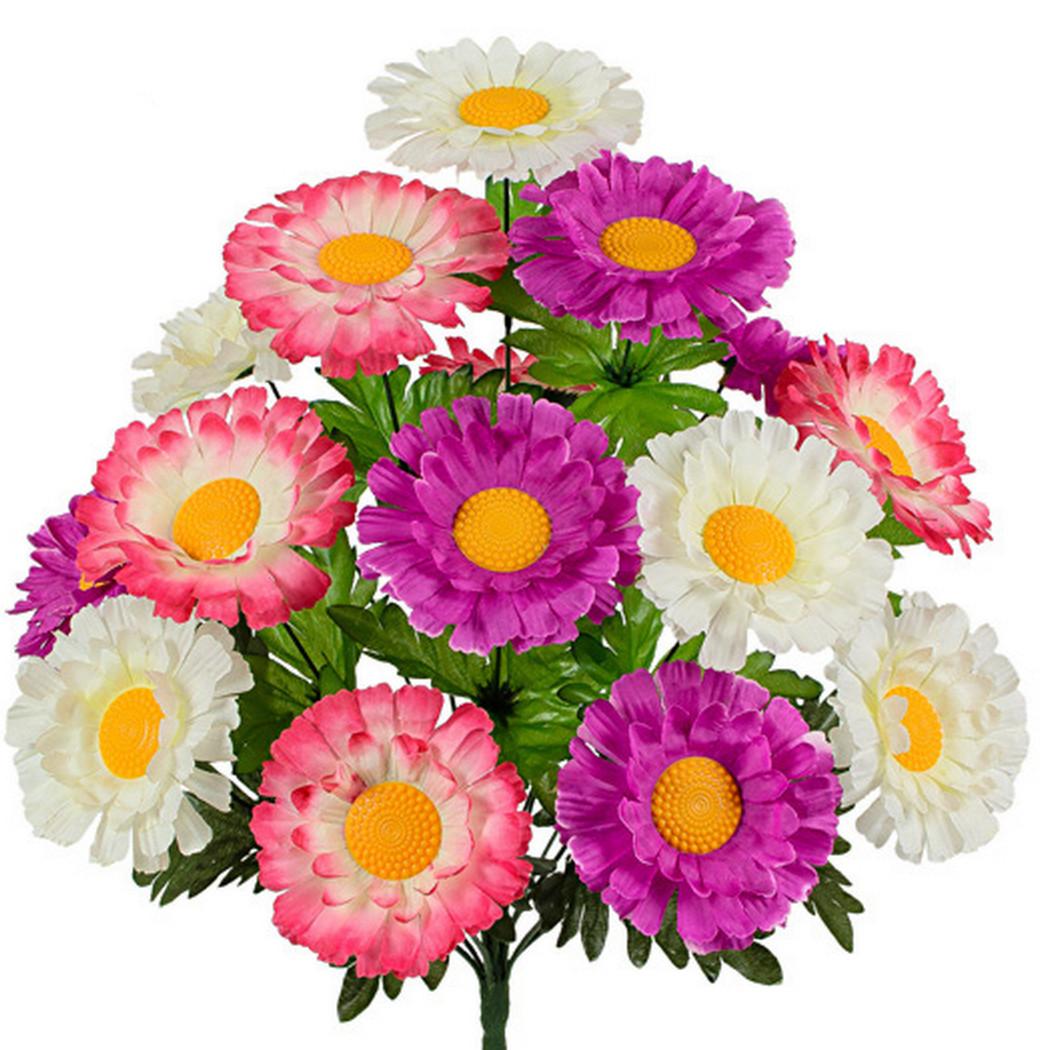 Букет  хризантемы трехцветные, 49см( по 10 шт в уп.)
