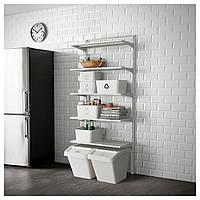 IKEA ALGOT Стеллаж, металлический белый, 88x41x199 см (590.942.09)