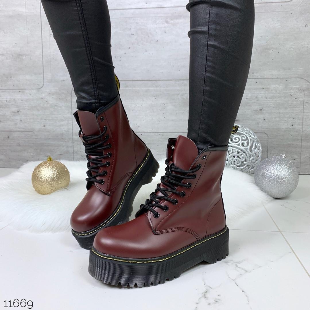Бордовые ботинки женские