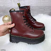 Бордовые ботинки женские, фото 2