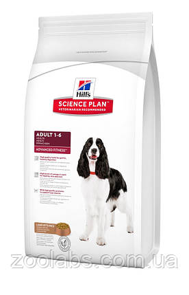 Корм Hill's для собак средних пород с ягненком   Hill's Science Plan Canine Adult Advanced Fitness 12,0 кг, фото 2