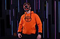 Оранжевая зимняя мужская худи, кенгуру, зимова кофта, худи в стиле Oxxxymiron.